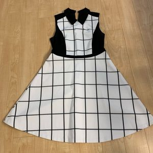 Loft fit and flare windowpane collared dress